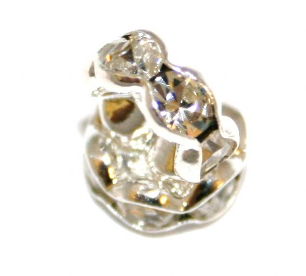 Wave Edge Rhinestone Rondelle Spacers